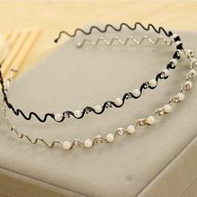 1 PC Hot Sale Imitation Pearl Crystal Wave Hairband Black Silver Color Women Headwear Bling Headband Accessories(China)