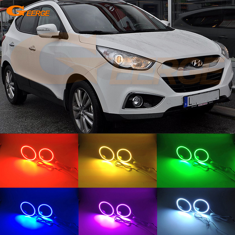 For Hyundai ix35 2010 2011 2012 Projection HeadLight Excellent Angel Eyes Multi-Color Ultra bright RGB LED Angel Eyes kit 2pcs purple blue red green led demon eyes for bixenon projector lens hella5 q5 2 5inch and 3 0inch headlight angel devil demon