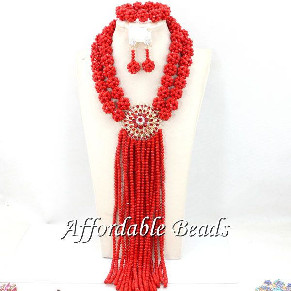 Red Women Costume Jewelry Set Newest Wedding African Beads Set Best Item Wholesale HEB087Red Women Costume Jewelry Set Newest Wedding African Beads Set Best Item Wholesale HEB087