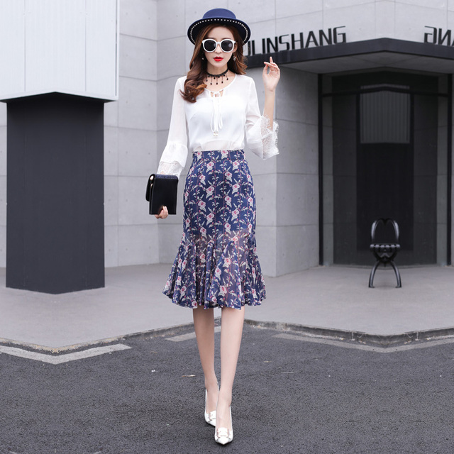 999a62b8cfa4d High Quality Western Style Mermaid Skirts 2019 Summer Hot Sale Floral  Printed Fish Tail Skirt Woman