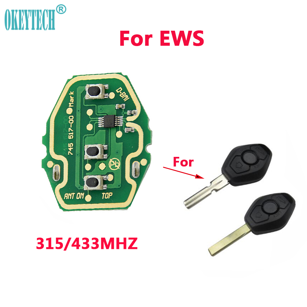 OkeyTech Rechargeable Remote Circuit Board 315/433MHz for BMW 3 5 X series 7S E38 E39 E46 3 Buttons Key Fob With CR2032 BatteryOkeyTech Rechargeable Remote Circuit Board 315/433MHz for BMW 3 5 X series 7S E38 E39 E46 3 Buttons Key Fob With CR2032 Battery