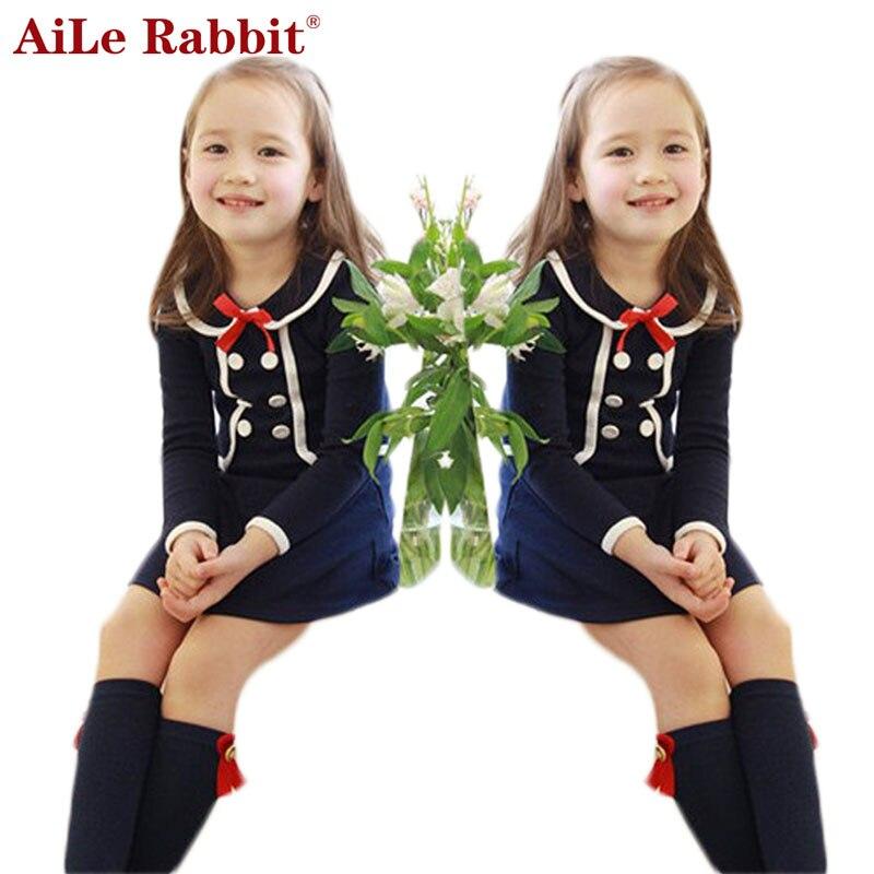 AiLe Rabbit  Girls Dress 2016 Autumn Casual Style Baby Girl Clothes Long Sleeve Cartoon Bunny Print Plaid Dress for Kids Clothes new girls clothes autumn casual dresses kids long sleeve cartoon stripe children dress girl donald duck rabbit 2 8y clohting