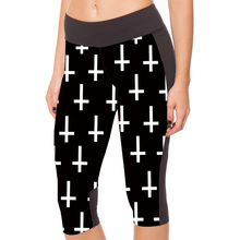 New 1066 Sexy Girl Women Jesus god Cross 3D Prints Workout Fitness Stretchy Elastic Cropped Trousers Leggings Pocket Pants