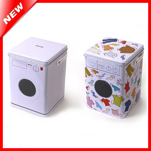 Decorative Laundry Machine Shaped Detergent Washing Powder Storage Tin Box Pet Dog And Cat Food Container Sundries Organizer