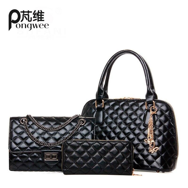 PONGWEE Famous Brand Women Top-Handle Bags 2017 Fashion Women Messenger Bags Purses and Handbags Set PU Leather Composite Bag