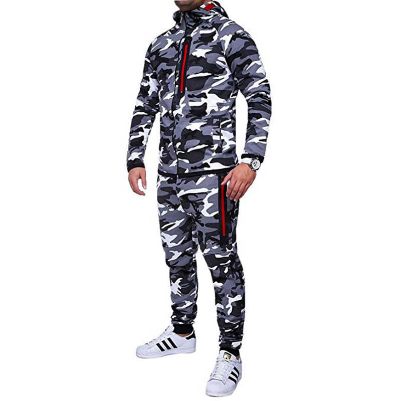 Men Hooded Jumpsuit Stylish Casual Long Sleeve Slim Fit Tracksuits Camouflage Hoodies Jumpsuit Warm Activewear