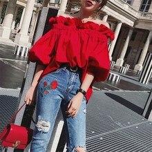 купить Fashion 2019 Summer Women Off Shoulder Casual Blouse Casual Slash Neck Ruffles Solid Loose Blouse Lantern Sleeve Tops по цене 735.98 рублей