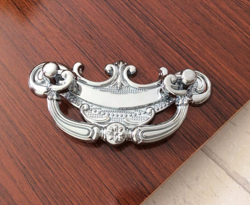 Silver Chrome drop pull Drawer Dresser Handles / Cottage Klichen ...