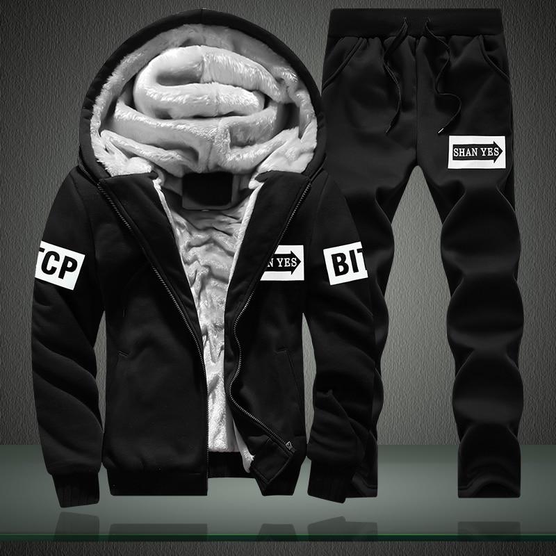 Winter Wool Hoodies Sweatshirts Suit Men Plus Size 4XL Men's Hooded Sweatshirts Thick Warm Hoodies Set For Men Outwear + Pants