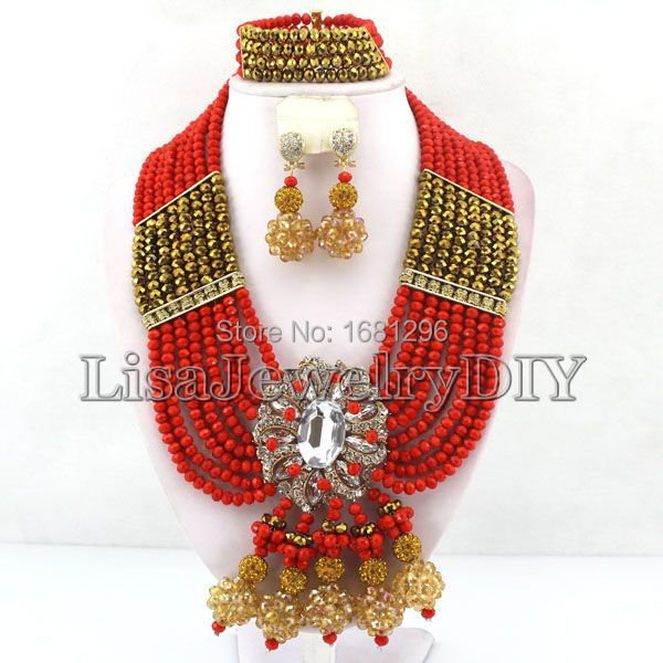 Unique African Beads Jewelry Sets Nigerian Wedding Bridal Indian Beads Jewelry Sets      HD0153Unique African Beads Jewelry Sets Nigerian Wedding Bridal Indian Beads Jewelry Sets      HD0153