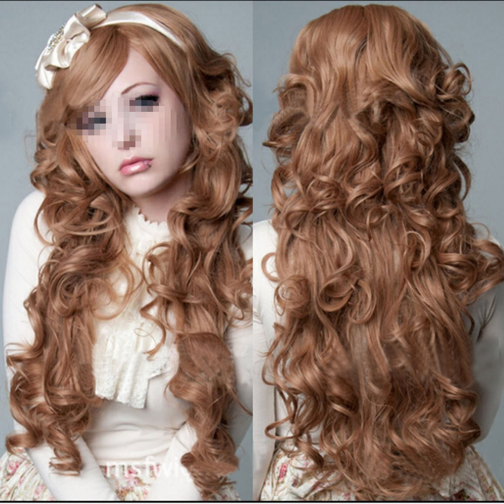 MISS 00272 Brown Womens Curly Long Hair Costume Cosplay Layer Cut ...