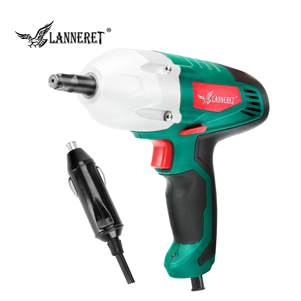 LANNERET 12v Car Electric Wrench 80W Impact Wrench 300N m Electric Tire Repair Tool with 2pc