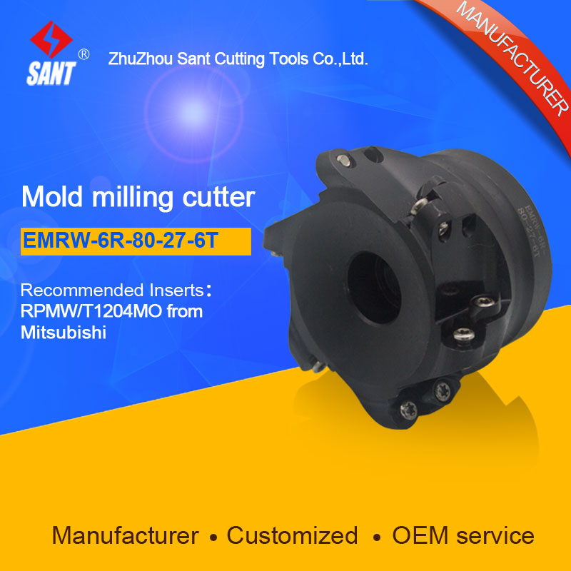 Zhuzhou Sant Face Milling Cutter EMRW-6R-80-27-6T for carbide Inserts RPMW/T1204MO