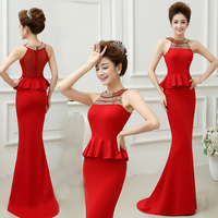 National Trend Chinese dress Charming QiPao dress elegant red Cheongsam wedding dress modern Qipao for Wedding Part