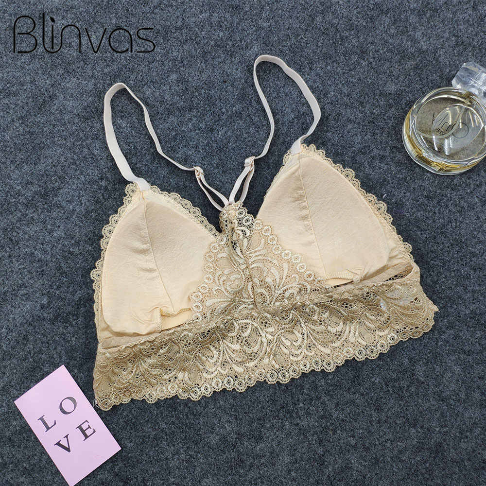 Blinvas Bra Wireless Bras for Women Lingerie BH Lace Sexy Bralette Push Up Bra Plus Size Y-line Straps Backless Bras Large Size