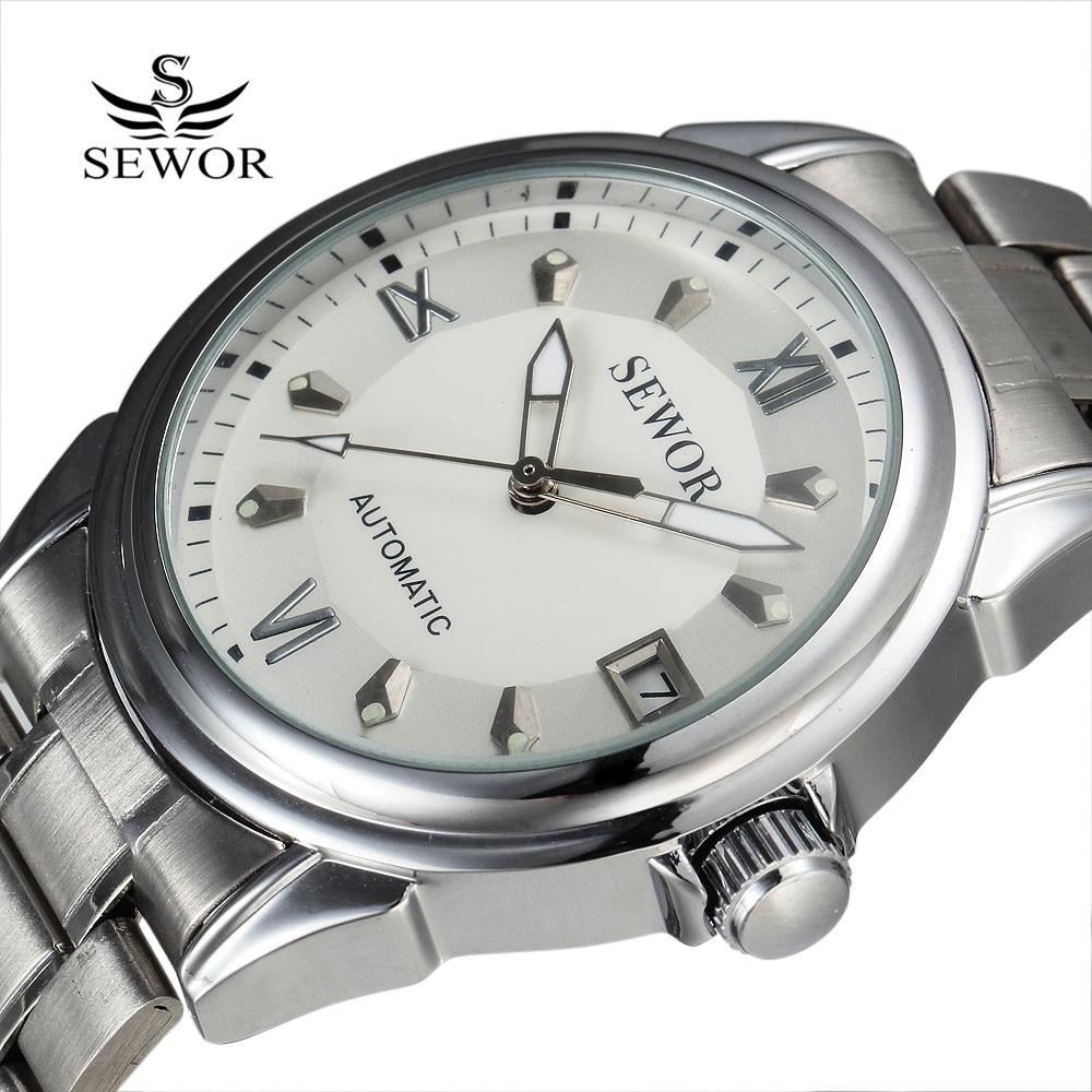 고품질의 Sewor 복장 스틸 기계식 시계 남성 시계 세련된 디자인 달력 클래식 자동 군사 남성용 시계