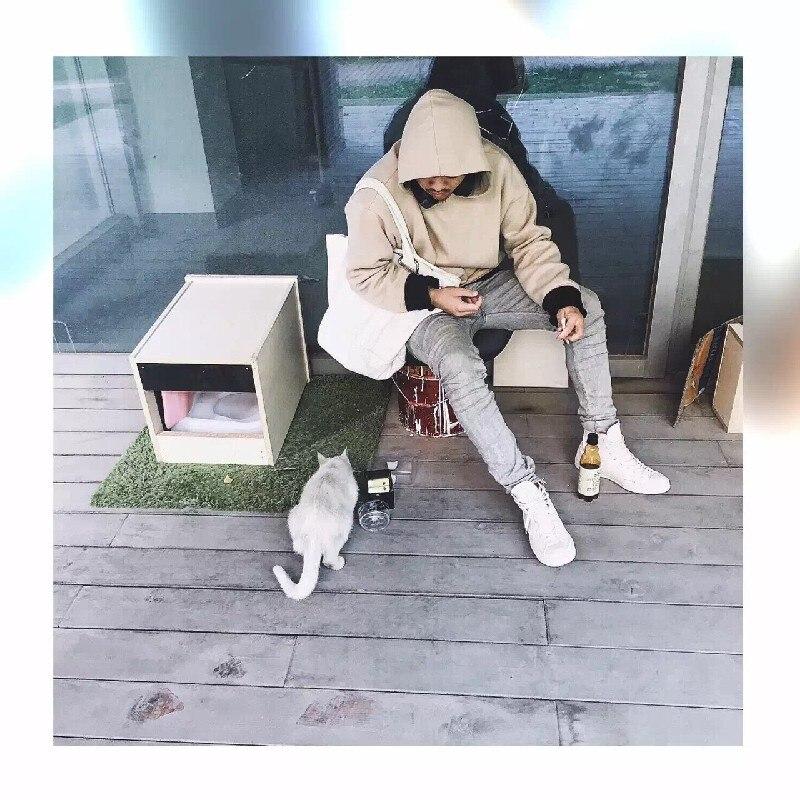 CHENXUAN good quality nice hip hop hoodies fleece WARM winter mens kanye west hoodie sweatshirt swag solid pullover - handsome hi Store store