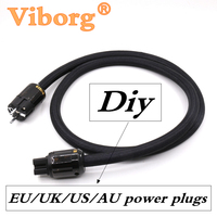 Pure copper power wire cable EU/US/AU/UK rhodium /Gold plated power Plugs Diy hifi power cable for audiophile amplifier