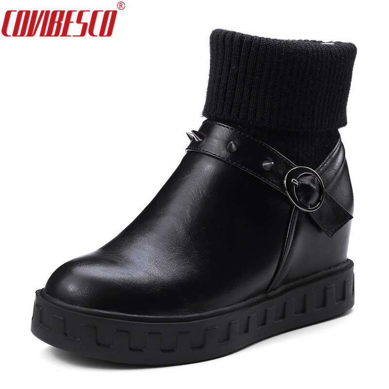 COVIBESCO Punk Rivet Shoes Women Wedges High Heels Round Toe Autumn Winter Ankle Boots Female Buckle Bootas Mujer Large Size women martin boots 2017 autumn winter punk style shoes female genuine leather rivet retro black buckle motorcycle ankle booties