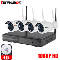 1080P 4CH Wireless NVR CCTV System Wifi 2 0MP IR Outdoor Bullet P2P IP Camera Waterproof