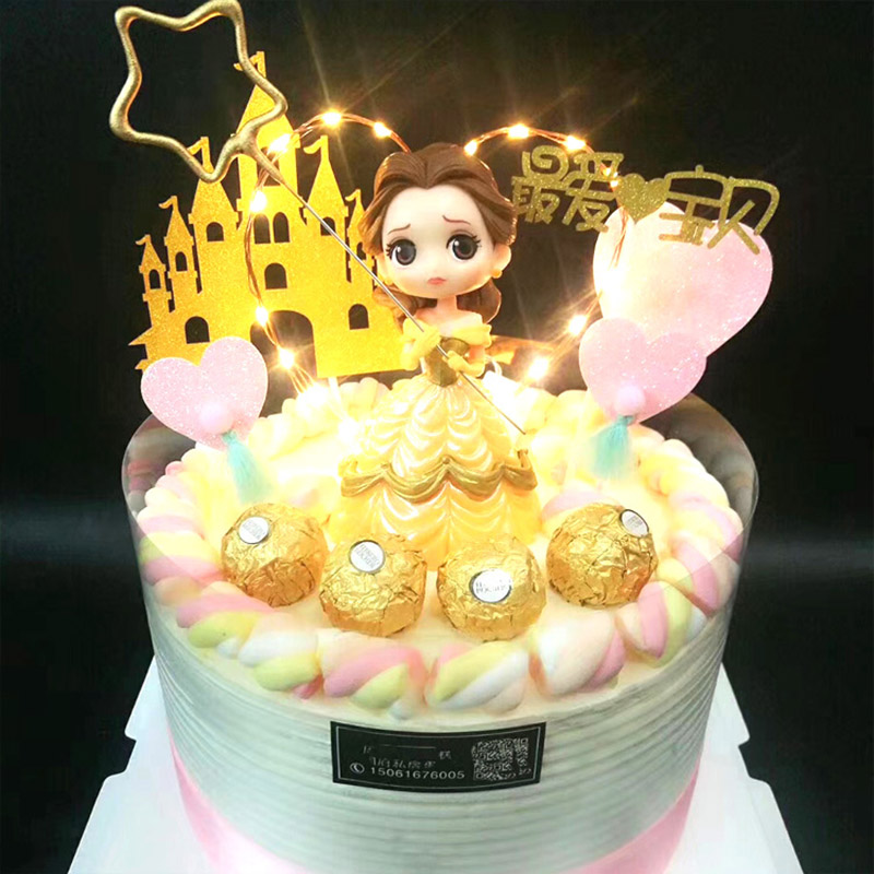 Image 4 - Cake Decoration Figure Snow white Princess Glitter Sliver Gold Happy Birthday CastleCake toppers for kids birthday Party Decor-in Cake Decorating Supplies from Home & Garden