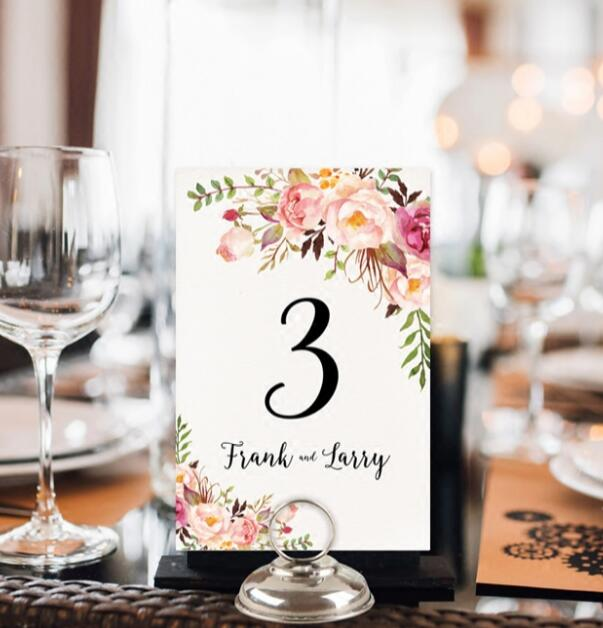Simple Floral Wedding Table Cards
