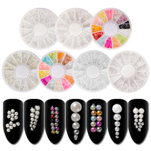 1 Wheel Colorful 3D Pearl Stones Nail Art Decorations Mixed Size Rhinestone DIY Manicure Beauty Accessories