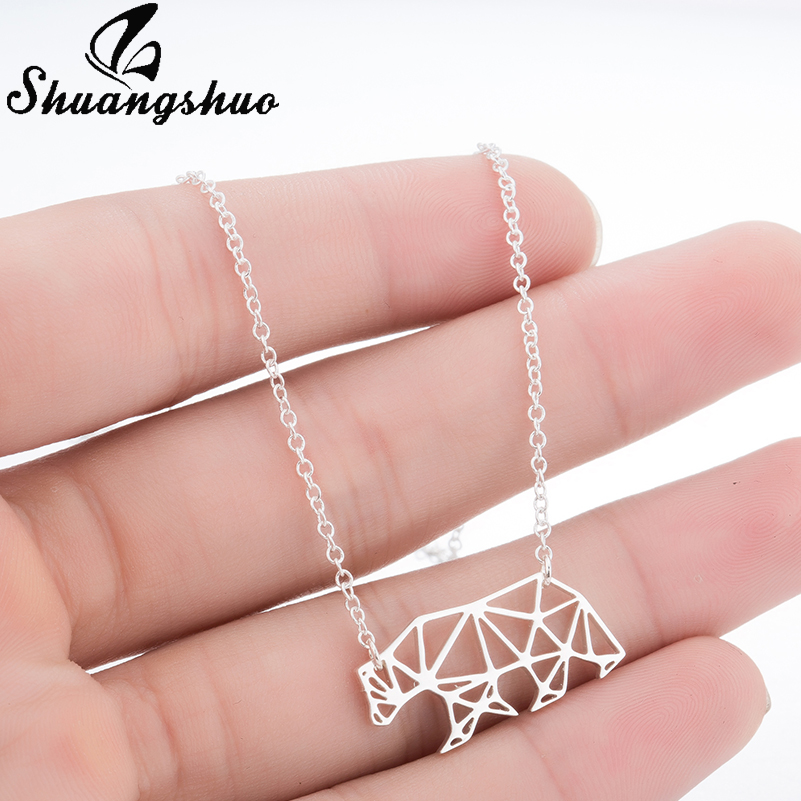 Shuangshuo New Origami Bear Necklace Geometric Necklace Mama Bear Gift for Mom Polar Bear Hollow Out Animal Necklace & Pendants ...