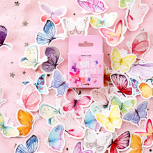 46Pcs/box Kawaii Colorful Butterfly Sticker Scrapbooking Creative Cute Japanese Stationery DIY Journal Decorative Flake Supplies