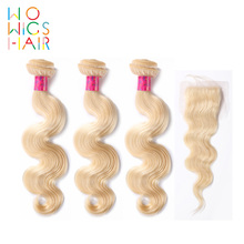 Wowigs Hair Platinum Blonde Body Wave 3 Bundles Deal With Top Lace Closure / Frontal