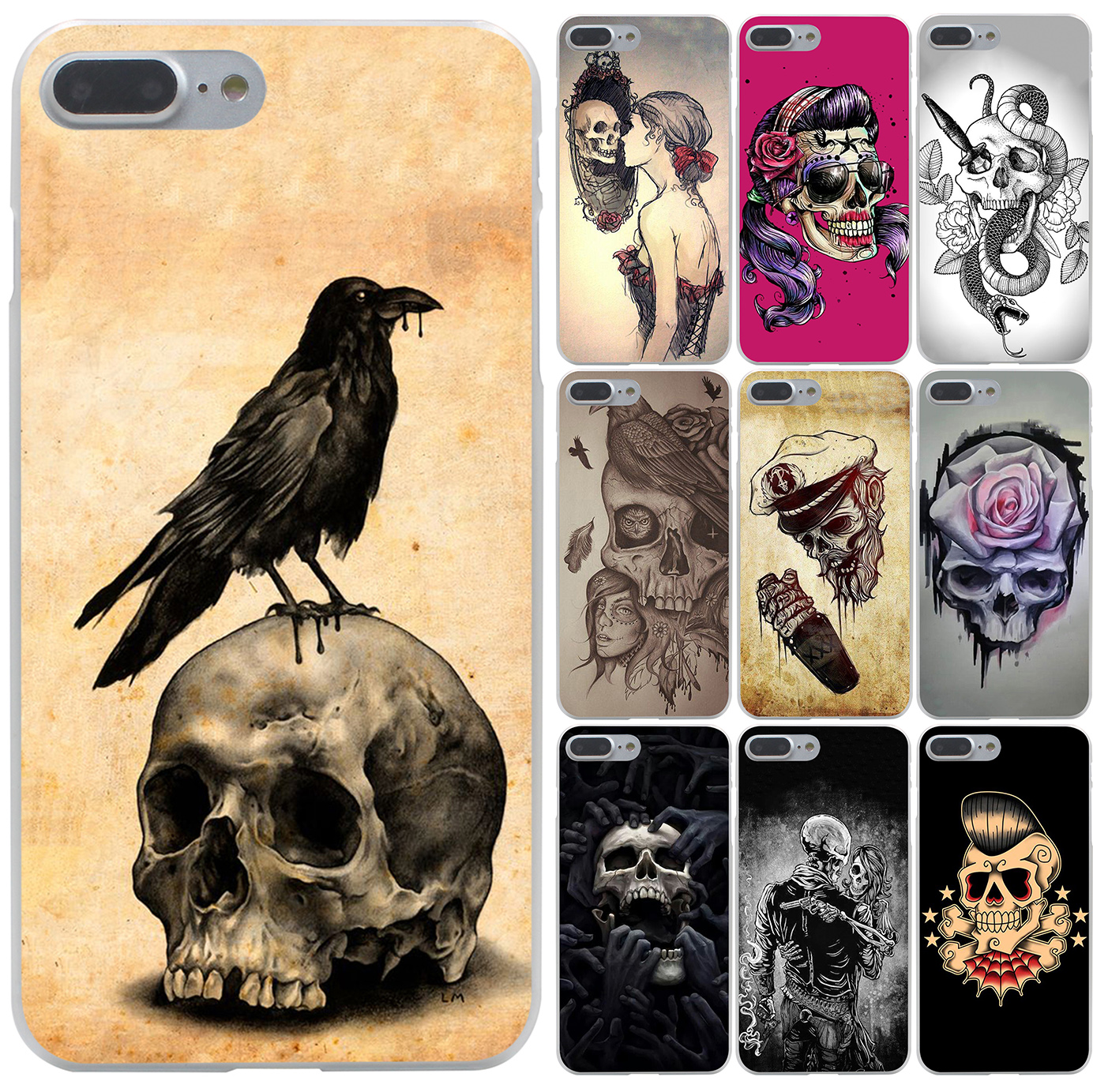 flower Skull Lady Man Painted Hard Case Transparent Cover for iPhone 7 7 Plus 6 6s Plus 5 5s 5c SE 4 4s