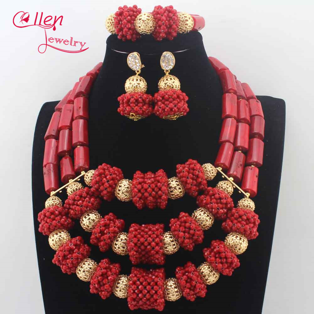 Trendy New Red Coral Necklace Wedding Jewelry Set African Natural Red Coral Beads Jewelry Set For Women Gift Free Shipping N0080 7 пряди red coral