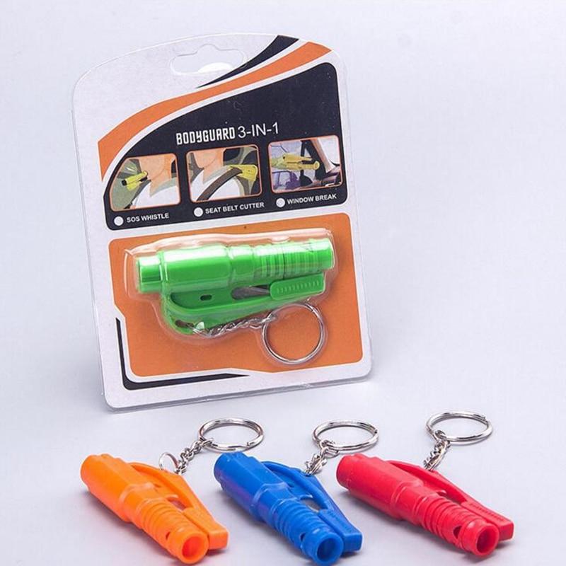 Practical Car Safety Hammer Key Chain Knife Life Saving
