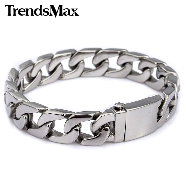 Trendsmax 13mm Wide Mens Boys Wristband Flat CURB CUBAN Silver Color 316L Stainless Steel Bracelet HB83