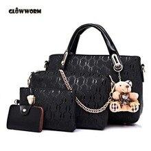 Berühmte Marke Frauen Tasche Marke 2017 Mode Frauen Messenger Bags Handtaschen Pu-leder Weiblichen Beutel 4 stück Set XP659