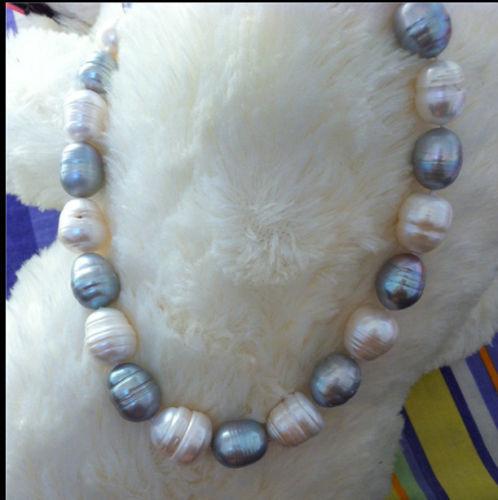 Mulheres Presente do Amor da palavra mulheres Jóia Da Forma agradável natural cultivadas 14-15mm cinza de água doce branco pérola necklace18inch