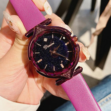 Super Cool Black Women Watches Fashion Ladies Rose Gold Dress Watch Woman Causal Starry Face horloges vrouwen