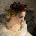 Envío gratis medieval vendimia de las señoras de encaje negro decoración del pelo de headwear/cosplay