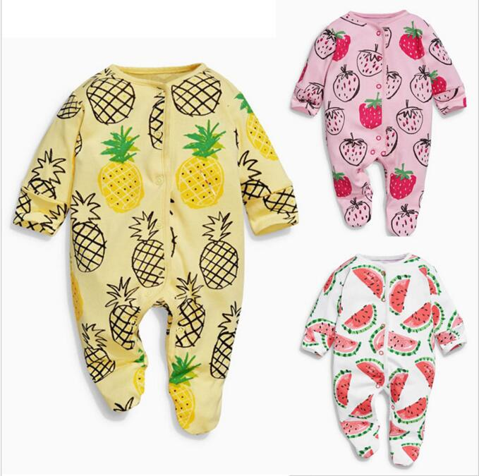 BBK Baby Coverall Watermelon strawberry pineapple Spring Shahi Neonatal sack Foot baby rompers cotton girls clothes kids pineapple rainbow watermelon glasses brooch set