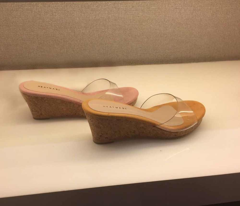 f61ec17c7e ... 2019 HOT Summer Slippers Women Transparent Sequins Platform Wedge Thick  Sole High Heels 6.5CM Mules ...