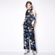 2019 Spring Summer New Fashion Women Jumpsuit Temperament Sleeveless Straight Casual Print