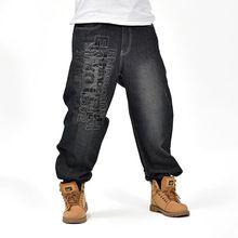 Американский плюс размер 30-46 свободные брюки мешковатые джинсы для мужчин Рэп Джинсы Рэппер Скейтборд Расслабленной Джинсы Улица прилив Штаны