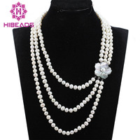 18 23 Bridesmaid Gift Pearl Beads NecklaceJewelry,Pearl Necklace,Triple Strand Necklace With 7 8 MM White Pearl FP053