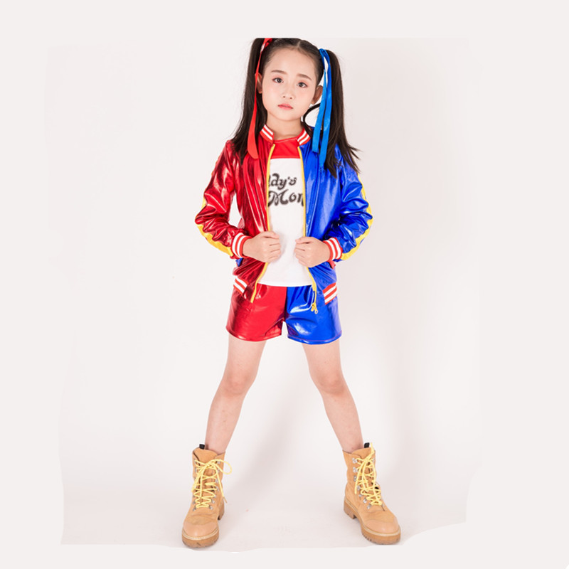 Harley Quinn Costumes For Girls Harley Quinn Kids Cosplay Costume Anime Coat Jacket Christmas New Year Party Dress Costumes