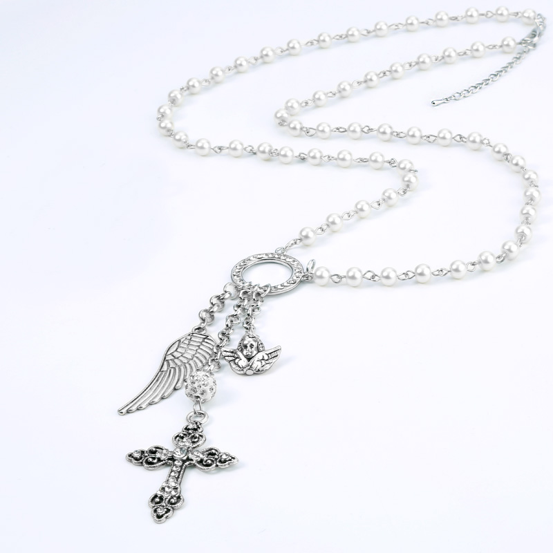 Brightly Simulated Pearl Long Necklace Cross Angel Wings Pendants