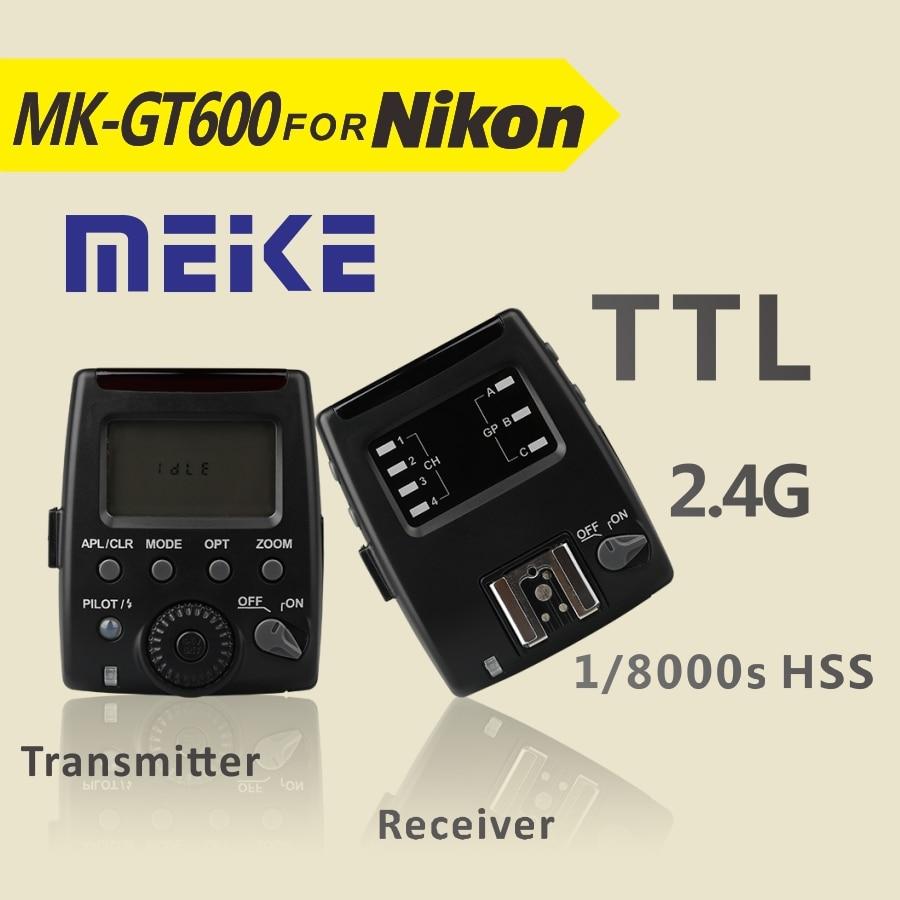 Meike MK GT600 2.4G Wireless 1/8000s HSS TTL Flash Trigger +Receiver for Nikon D7100 D7000 D5100 D5000 D5200 D90 D70 meike mk d750 battery grip pack for nikon d750 dslr camera replacement mb d16 as en el15 battery