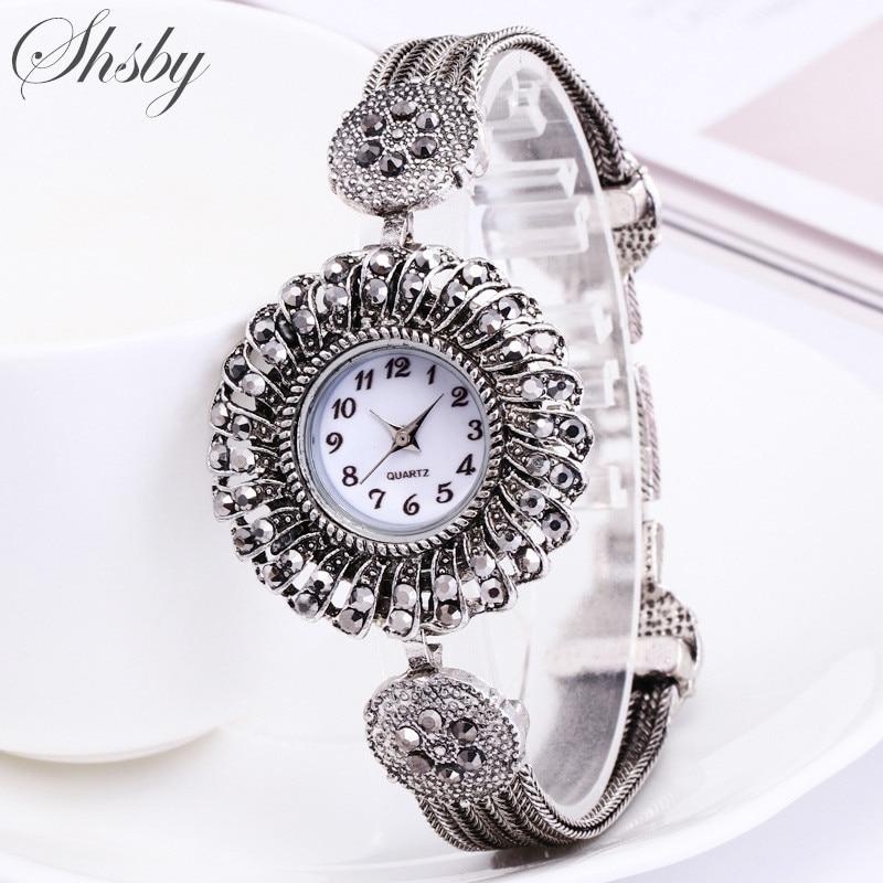Shsby Women Jewelry Watches Casual Quartz Bracelet Watch Lady Flower Rhinestone Clock Women Luxury Crystal Dress Wristwatches