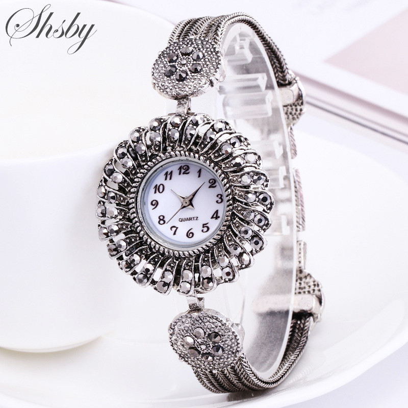 Shsby Women Jewelry Watches Casual Quartz Bracelet Watch Lady Flower Rhinestone Clock Women Luxury Crystal Dress Wristwatches