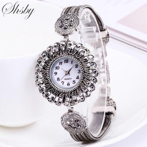 Shsby women Jewelry Watches Casual Quartz Bracelet Watch lady flower Rhinestone Clock Women Luxury Crystal Dress Wristwatches Pakistan