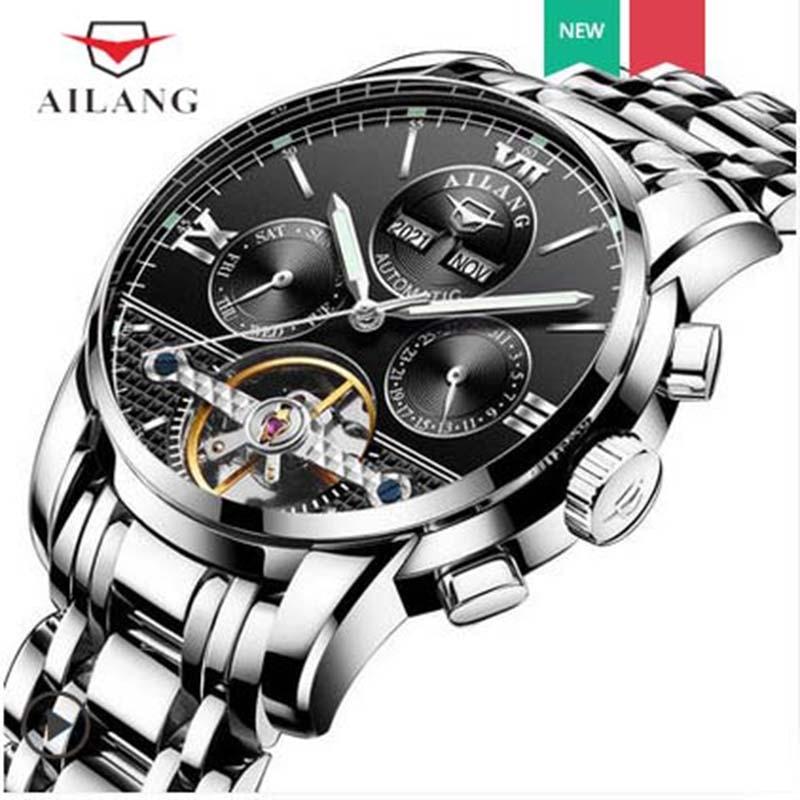 AILANG montres mécaniques automatiques loisirs calendrier semaine affichage montre étanche bracelet en acier inoxydable horloge en or A155
